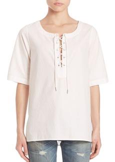 rag & bone/JEAN Cotton Lace-Up Top
