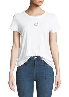 Crewneck Short-Sleeve Cotton Tee w/ Flower Embroidery