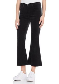 rag & bone/JEAN Crop Flare Velvet Jeans in Black