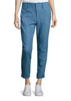 rag & bone/JEAN Cropped Straight-Leg Denim Chino Pants