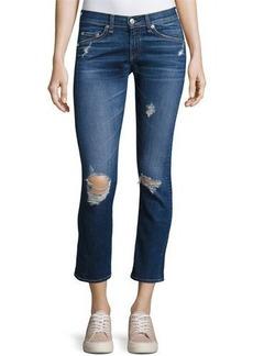 rag & bone/JEAN Distressed Mid-Rise Capri Jeans