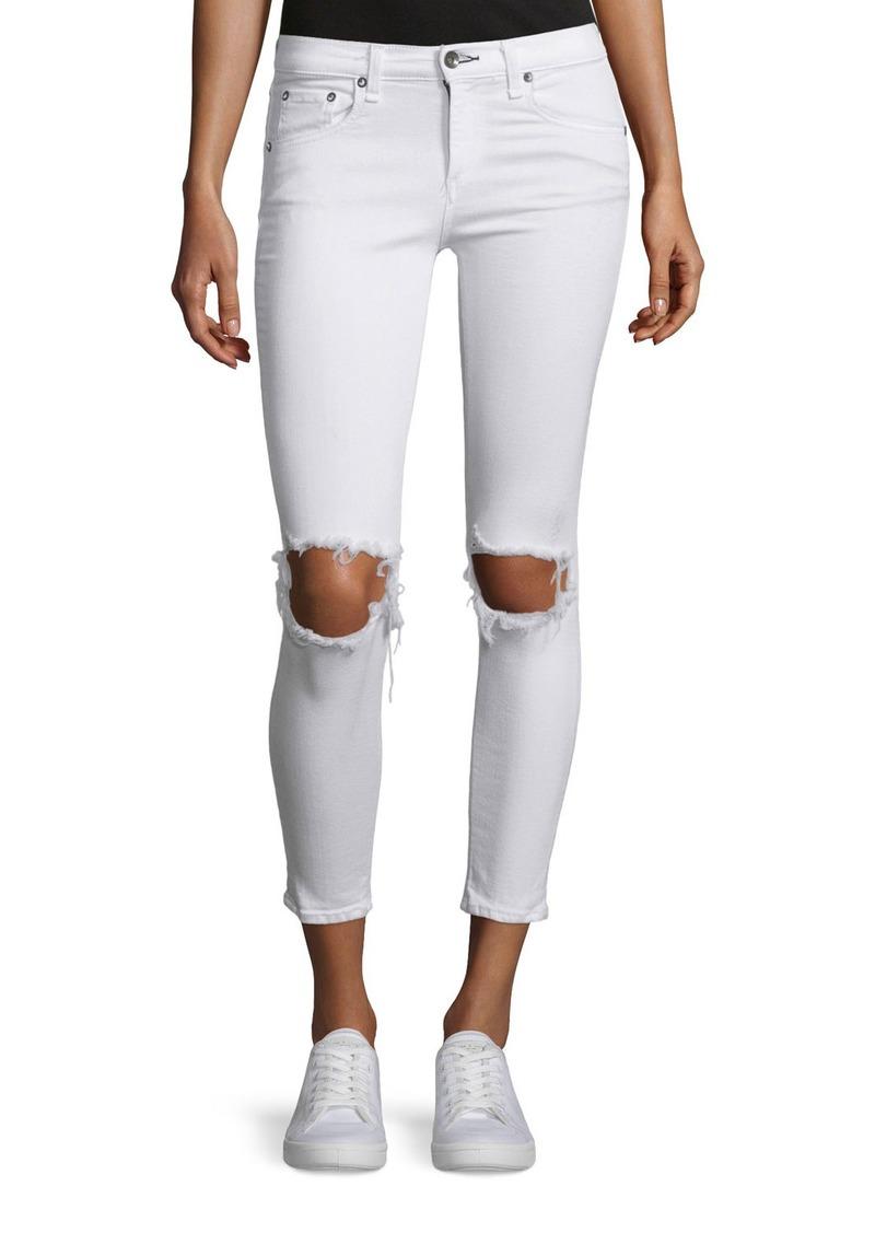 rag & bone/JEAN Distressed Skinny Cropped Jeans