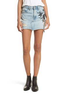 rag & bone/JEAN Dive Embroidered Denim Miniskirt