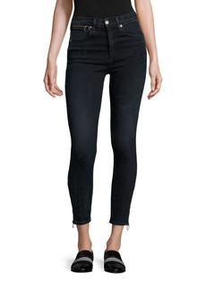 rag & bone/JEAN Dive High-Rise Ankle Zip Capri Jeans/Black Brook