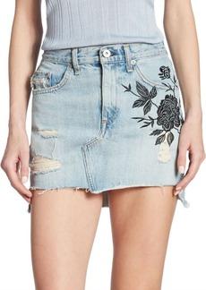 rag & bone/JEAN Dive High-Waist Embroidered Denim Skirt