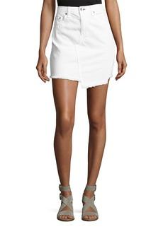 rag & bone/JEAN Dive Uneven Frayed Denim Skirt  White