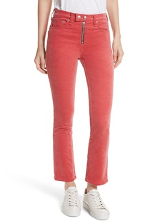 rag & bone/JEAN Dojo High Waist Velvet Ankle Jeans (Washed Red)