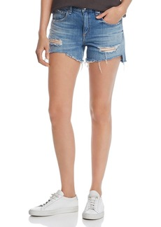 rag & bone Dre Cutoff Denim Shorts in Bishop With Holes