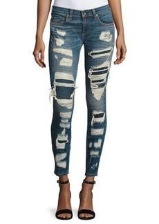 rag & bone/JEAN Dre Distressed & Repaired Mid-Rise Skinny Jeans