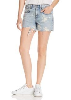 rag & bone Dre High-Rise Distressed Denim Shorts in Olson