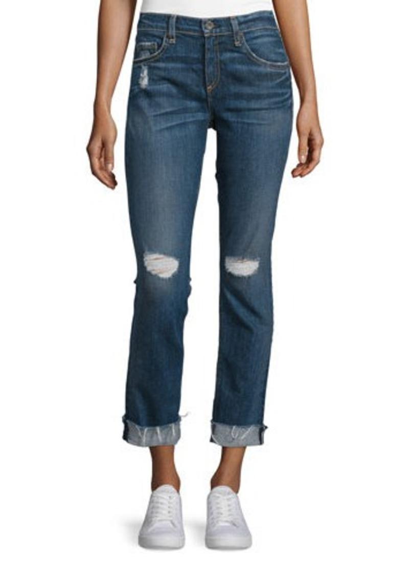 rag & bone/JEAN Dre Mid-Rise Distressed Cropped Jeans