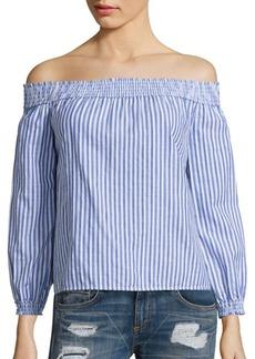 rag & bone/JEAN Drew Striped Cotton Off-The-Shoulder Top