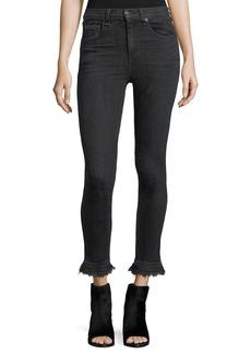 rag & bone/JEAN Hana High-Rise Skinny Cropped Jeans w/ Fringe Hem
