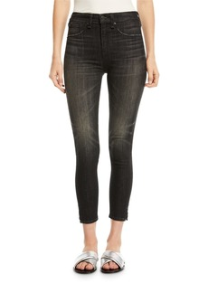 rag & bone/JEAN High-Rise Ankle Skinny-Leg Jeans with Slit