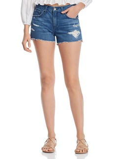 rag & bone High-Rise Cutoff Denim Shorts in Quartz With Holes