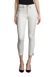 rag & bone/JEAN High-Rise Leather Capri Jeans