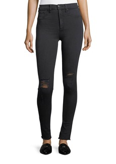 rag & bone/JEAN High Rise Skinny Jeans W/ Knee Rip