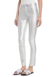 Rag & Bone High-Rise Skinny-Leg Metallic Leather Pants