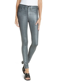 rag & bone High Waist Ankle Coated Skinny Jeans (Gun Metal)