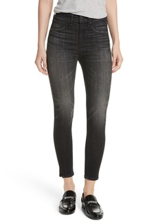 rag & bone/JEAN High Waist Ankle Skinny Jeans (Black Lock)