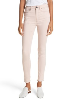 rag & bone/JEAN High Waist Ankle Skinny Jeans (Blush Twill)