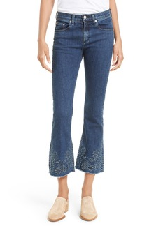 rag & bone/JEAN High Waist Crop Flare Jeans (Indigo Embroidery)