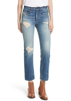 rag & bone/JEAN High Waist Crop Straight Leg Jeans