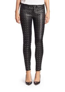 rag & bone/JEAN Hyde Leather Studded Skinny Jeans