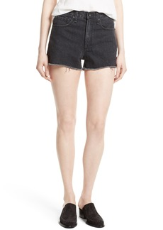 rag & bone/JEAN Justine High Waist Cutoff Denim Shorts (Washed Black)