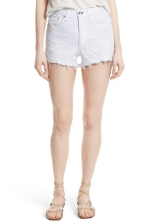 rag & bone/JEAN Justine High Waist Cutoff Denim Shorts (White Embroidery)