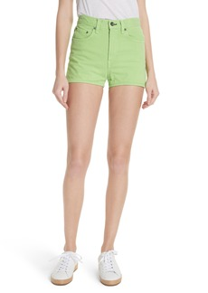rag & bone/JEAN Justine High Waist Denim Shorts (Lime)