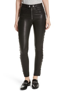 rag & bone/JEAN Kiku Leather High Waist Ankle Skinny Pants