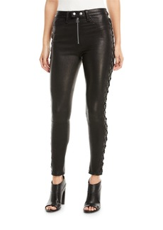 rag & bone/JEAN Kiku Leather Side-Lace-Up Skinny Pants