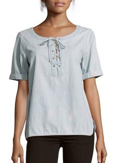 rag & bone/JEAN Lace-Up Cotton Top