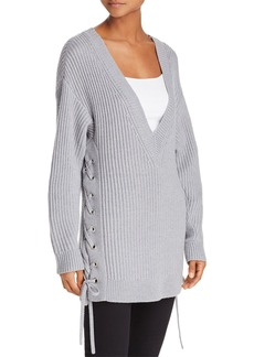 rag & bone/JEAN Lace-Up Oversized Merino Wool Sweater