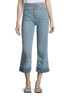 rag & bone/JEAN Lou High-Rise Cropped Flared Released Hem Jeans/Tivoli