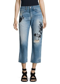 rag & bone/JEAN Marilyn Embroidered High-Rise Cropped Straight-Leg Jeans/Ramona