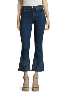 rag & bone/JEAN Marlowe Embroidered Cropped Flared Jeans/Marlow