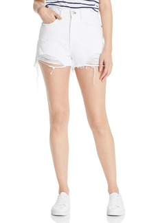 rag & bone Maya High-Rise Distressed Denim Shorts in White Tabby