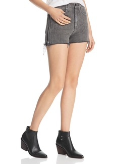 rag & bone Maya Side-Zip Denim Cutoff Shorts in Shadow