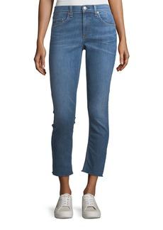 rag & bone/JEAN Mid-Rise Ankle Skinny-Leg Jeans w/ Frayed Hem