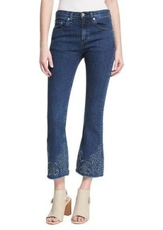 rag & bone/JEAN Mid-Rise Crop Flare Embroidered Jeans