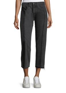 rag & bone/JEAN Mid-Rise Straight-Leg Seamed Cropped Denim Jeans