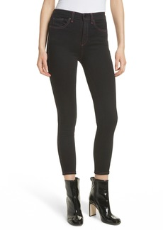 rag & bone/JEAN Miich High Rise Crop Skinny Jeans (Black Stitch)