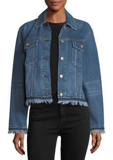 rag & bone/JEAN Oversized Button-Front Denim Jacket w/ Fringed Hem