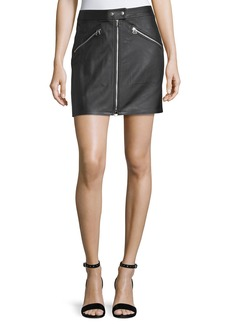 rag & bone/JEAN Racer Slim-Fit Zipper Leather Skirt