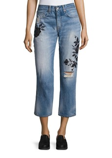 Ramona Embroidered Marilyn Crop Jeans
