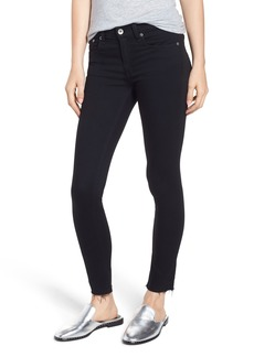 rag & bone Raw Hem Ankle Skinny Jeans (Black Raw Hem)