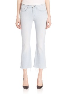 Raw-Hem Cropped Flared Jeans