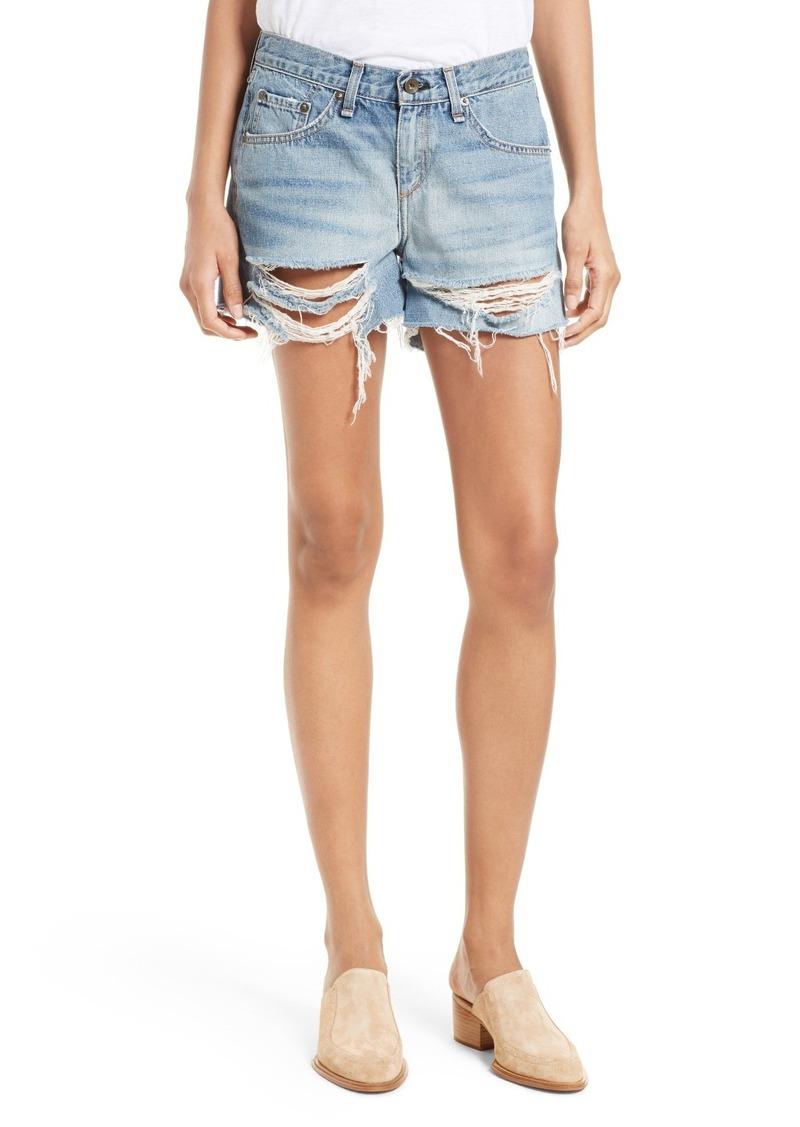 rag & bone/JEAN Ripped Boyfriend Shorts (Rye)